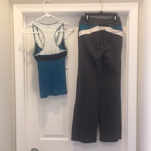 Bebe Sport 2piece Set Blue/Gray Top & Pants Size S